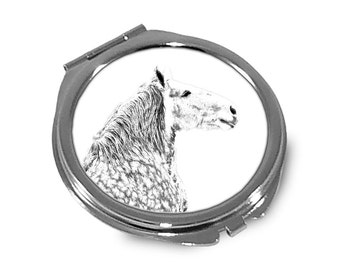 Percheron  - Pocket mirror with the image of a horse.