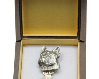 NEW, French Bulldog, dog clipring, in casket, dog show ring clip/number holder, limited edition, ArtDog