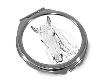 Camargue horse - Pocket mirror with the image of a horse.
