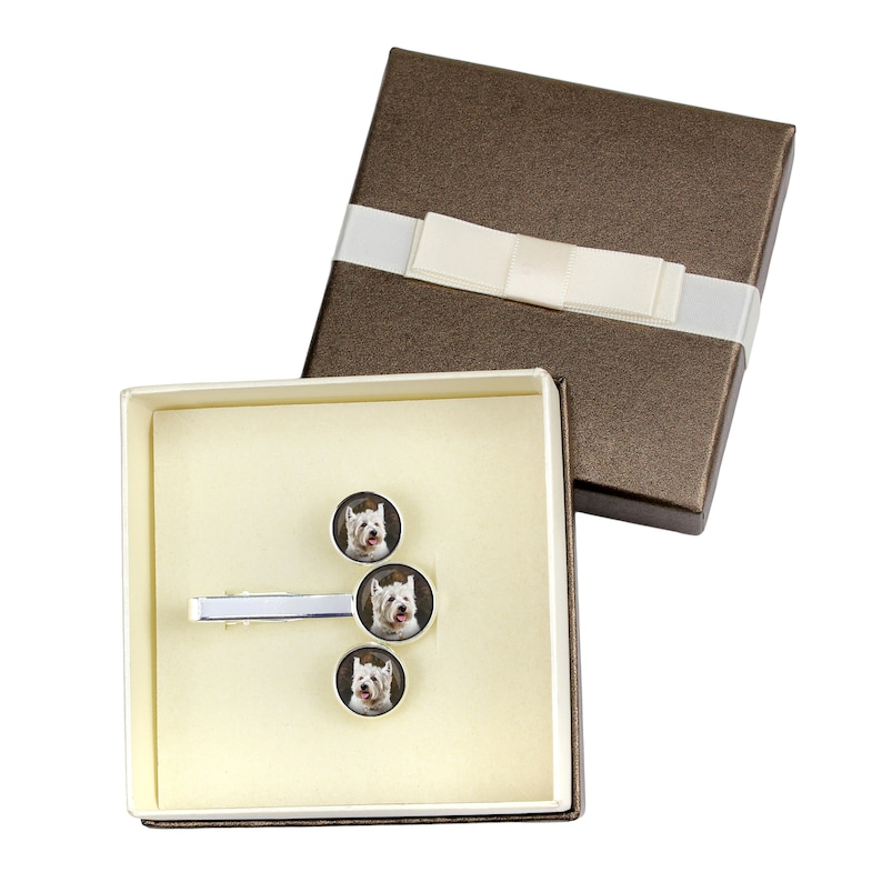 Jewelry for dog lovers Handmade Photo jewellery West Highland White Terrier Cufflinks and tie pin Men/'s jewellery