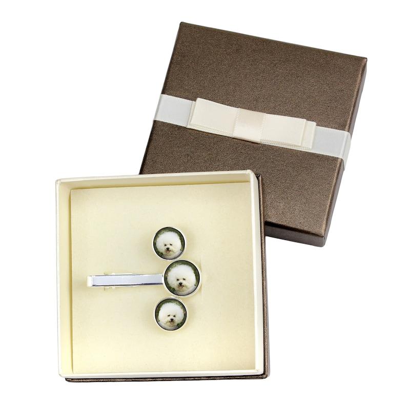 Bichon Frise Jewelry for dog lovers Handmade Men/'s jewellery Photo jewellery Cufflinks and tie pin