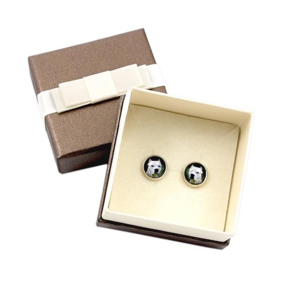 Earrings with box UK Borzoi.Pet in your ear Handmade Photojewelry