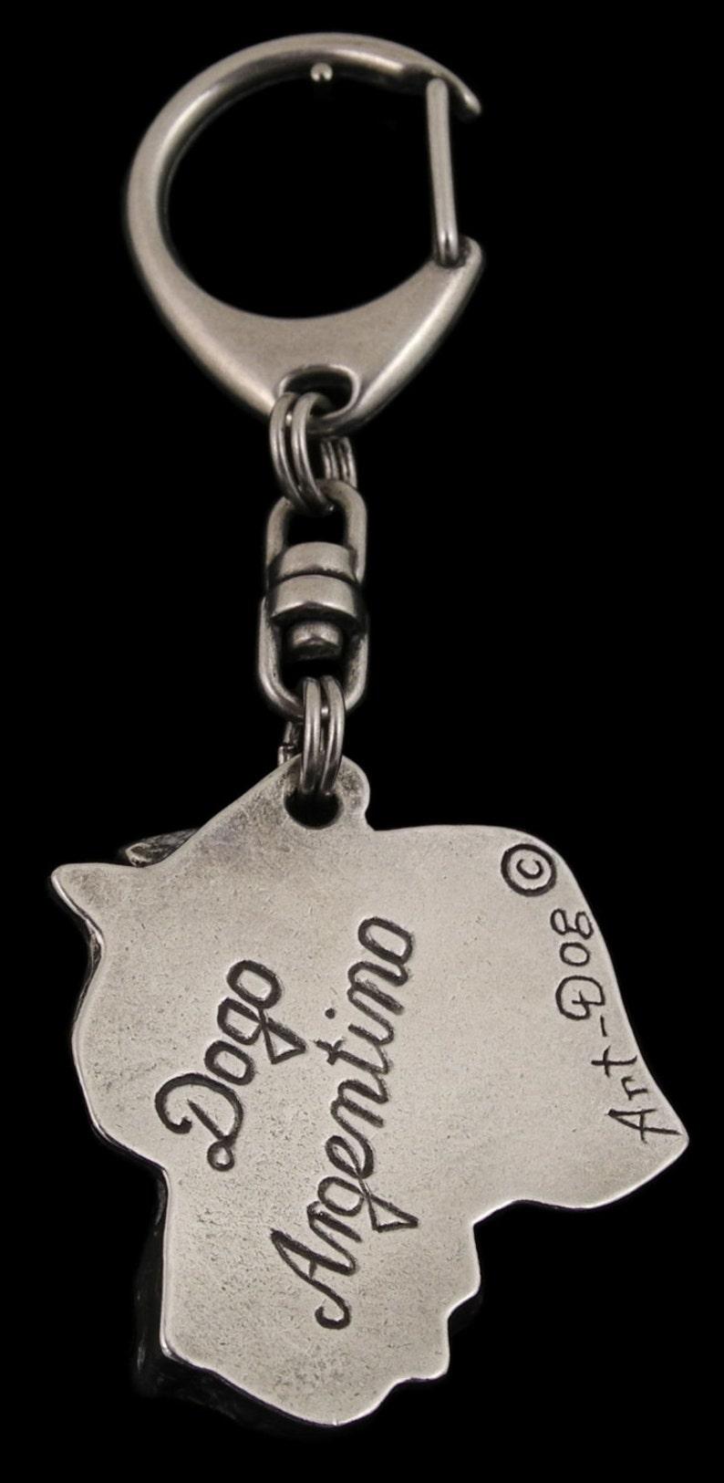 NEW Dogo Argentino ELEGANCE set limited edition ArtDog Dog keyring for dog lovers dog keyring and necklace in casket