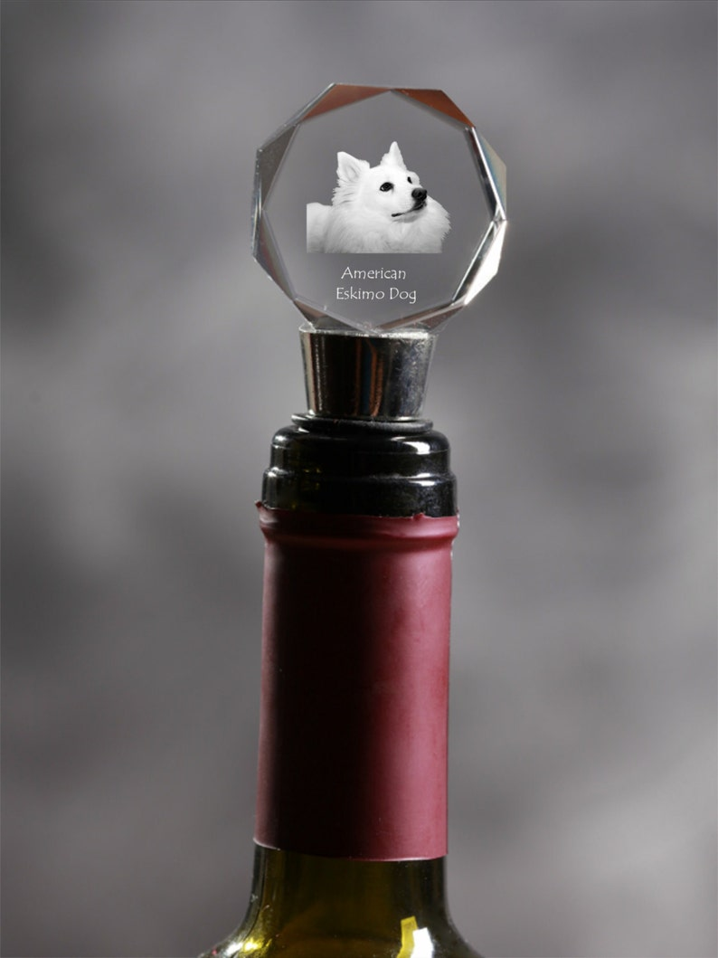 Exceptional Gift High Quality American eskimo dog Wine and Dog Lovers Crystal Wine Stopper with Dog