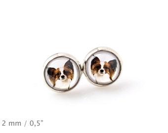 Papillon. Pet in your ear. Earrings. Photojewelry. Handmade.