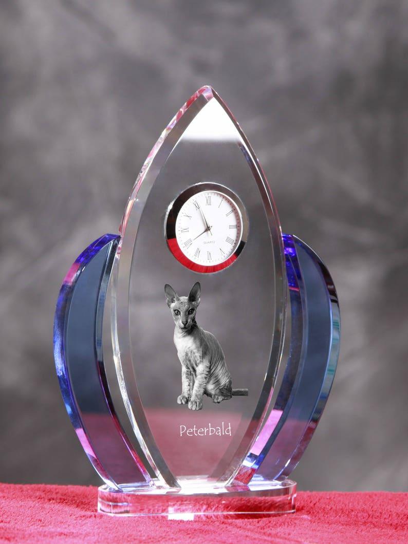 Peterbald, Horloge en cristal en forme de ailes avec une image dun chat de race.