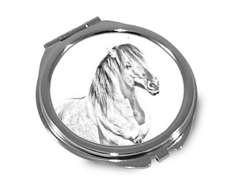 Henson - Pocket mirror with the image of a horse.