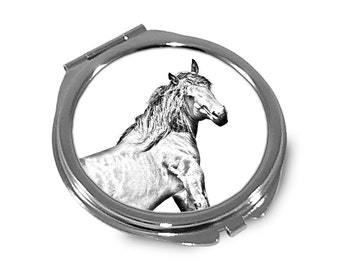 Basque Mountain Horse   - Pocket mirror with the image of a horse.