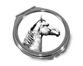 Selle français - Pocket mirror with the image of a horse.