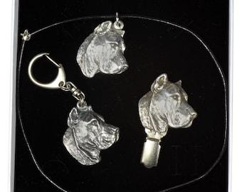 NEW, Presa de Canario, dog keyring, necklace and clipring in casket, ELEGANCE set, limited edition, ArtDog . Dog keyring for dog lovers