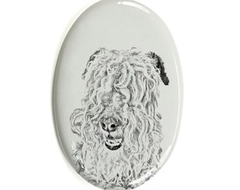 Lakeland Terrier - Gravestone oval ceramic tile with an image of a dog.