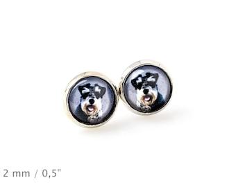 Schnauzer. Pet in your ear. Earrings. Photojewelry. Handmade.