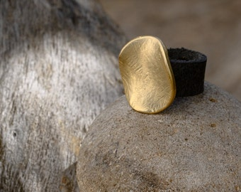 Leather Ring-Hammered Ring-Round Golden Ring-Ring-Rings-Gift Under 30-Gift