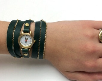 Women's Wrap Watch in Pine Green Leather Strap-Women Watches-Women's Watches-Wrap Watch-Watch-Wrist   wrap around watch  Watch-Woman Watch