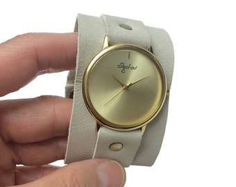 4ee2886bbb155 Wide Leather Band Watch- Women Watches-Beige Leather Cuff Watch-Womens Watch -Cuff Watches-Wrist Tattoo Cover-Wide Wrist Watch-Watch-Sigal