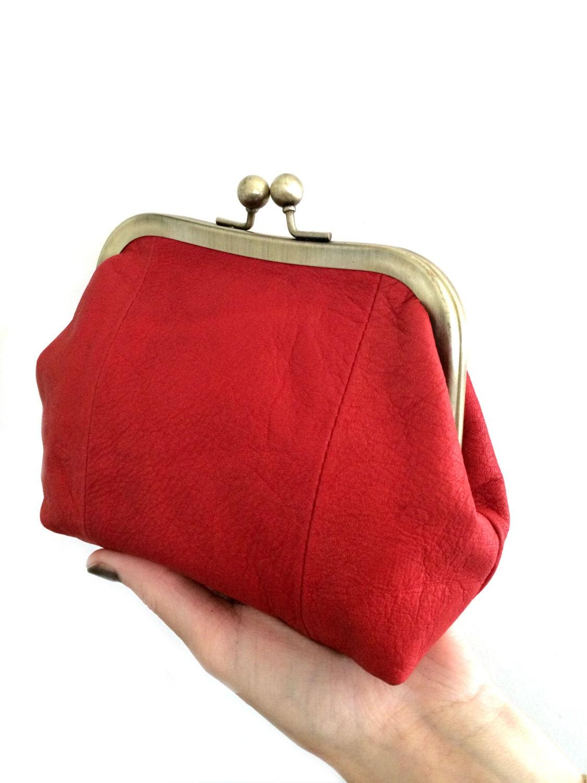 18aab536446 Rode portemonnee-Ball beurs-beurs-rood portemonnee-lederen | Etsy