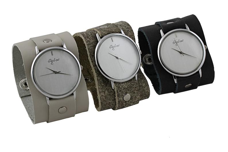 65b1005ffe771 Wide Leather Cuff Watch Women Watches-Beige Leather Cuff | Etsy