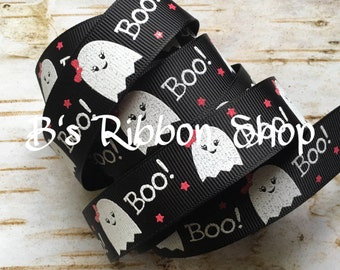 "7/8"" Boo Cute Ghost with Bow USDR grosgrain ribbon Halloween"