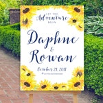 Fall Wedding Welcome Sign, Large Welcome Sign, Navy Yellow Sunflowers, Fall Wedding Decor Sign, Floral Wedding Sign, Boho, The Bodega