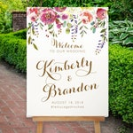 Wedding Welcome Sign Printable Wedding Welcome Sign Welcome Sign Digital PDF JPG Gold Floral Magenta Wisteria The Timber Cove Collection