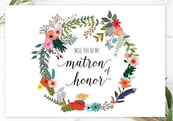 will you be my matron of honor card printable matron honor etsy