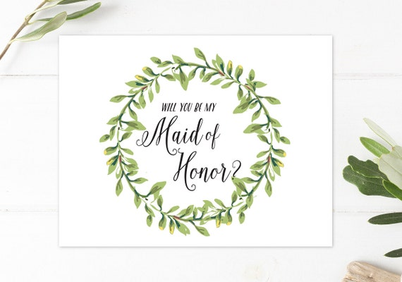 image relating to Will You Be My Maid of Honor Printable called Will Yourself Be My Maid of Honor, Printable Wreath Maid of Honor Invitation, Boho, Marriage ceremony Social gathering, The Napa Variety