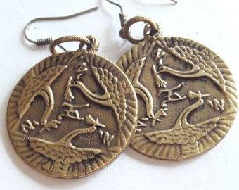Fighting Crane Bronze Coin Antique Earrings  Crane Syle Kung Fu, Chinese Crane Jewelry, Wing Chung Jewelry, Shaolin Crane,  Asian Jewelry,
