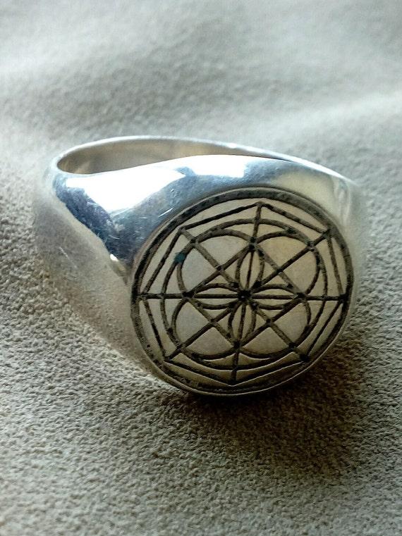 Univeral Symbol Kenpo Ring In Solid Silver Okinawan Karate Ed Etsy