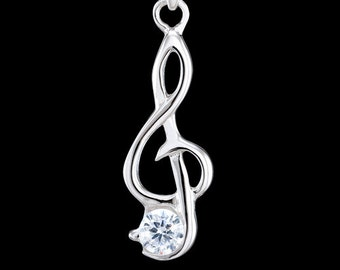Treble clef, solid 925 sterling silver pendant with cubic zirconia gemstone