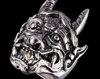 Massive daemon, devil, satan ring, solid 925 sterling silver ring
