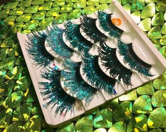 Mermaid eyelashes, glitter eyelashes, false eyelashes, costume, glitter makeup, glitter eyeshadow