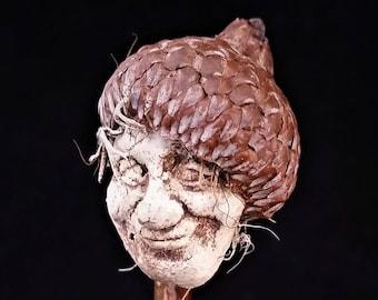 Ceramic and Acorn Forest Creature Sculpture