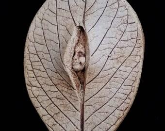 Stoneware Pixie Leaf Spirit Plaque