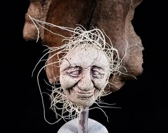 Ceramic and Seedpod Forest Creature Sculpture