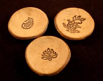 Tiny Stoneware Bowl Trio - Floral, Lotus, Paisley