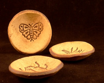 Tiny Stoneware Bowl Trio - Butterfly, Fly and Ladybug