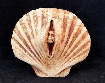 Stoneware Shell Sprite Plaque