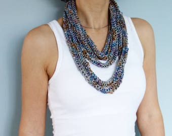 Knitting PATTERN - Multi-strand Chunky Necklace/ Statement Silk Necklace/Non-Allergenic Textile Jewellery