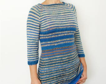 Sweater Knitting PATTERN- Striped Fitted Long Pullover/ Navy Tunic/Slim Jumper/ Seamless Sweater