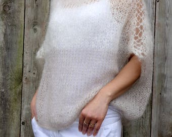 Sweater Knitting PATTERN - Latte Sweater/ Loose Knit Mohair Top/ Two Tones Tube Coverup/ Oversized Jumper