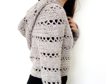 Sweater Crochet PATTERN - Hooded Cropped Sweater  Chunky Knit Shrug Fit  Crop Top Over-Bust Short Sweater b76db5674