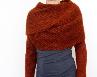 Shrug Knitting Pattern Convertible Scarf With Sleeves Wrap Etsy