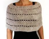 Crochet PATTERN- Oatmeal Capelet Chunky Knit Shoulders Warmer Handmade Shoulders Coverup