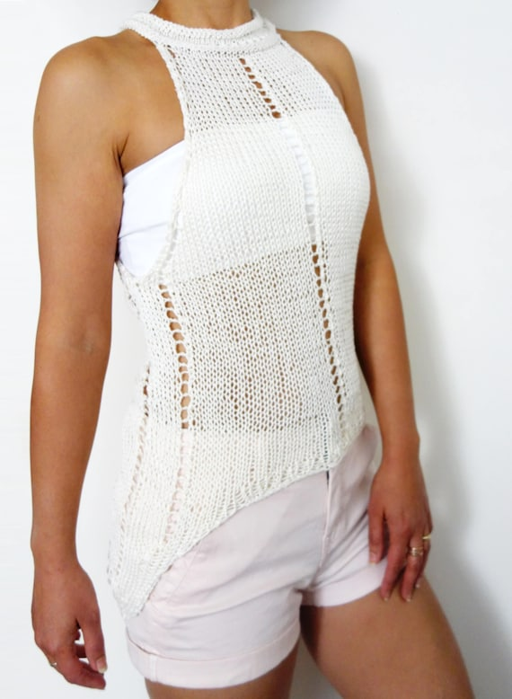 Top Knitting PATTERN Laced Cropped Tank Top/ Asymmetrical | Etsy