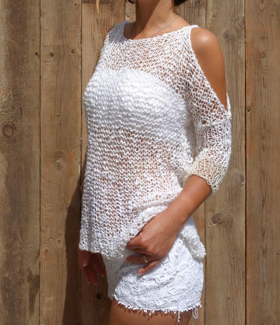 Sweater Knitting Pattern Foam Loose Knit Beach Cover Up Etsy