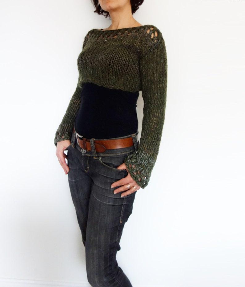 91b8002da8eb6c Sweater Knitting PATTERN Woodland Cropped Top  Boho Open