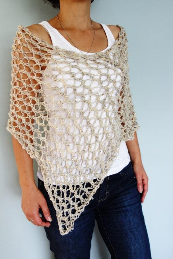 Poncho Knitting Pattern Hampton Lace Poncho Chunky Rustic Etsy