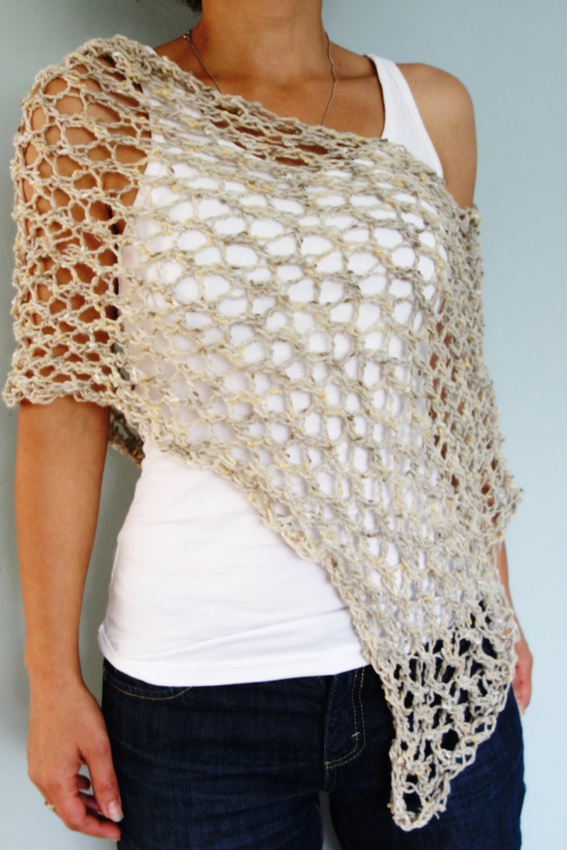 Poncho Knitting PATTERN Hampton Lace Poncho/ Chunky Rustic ...