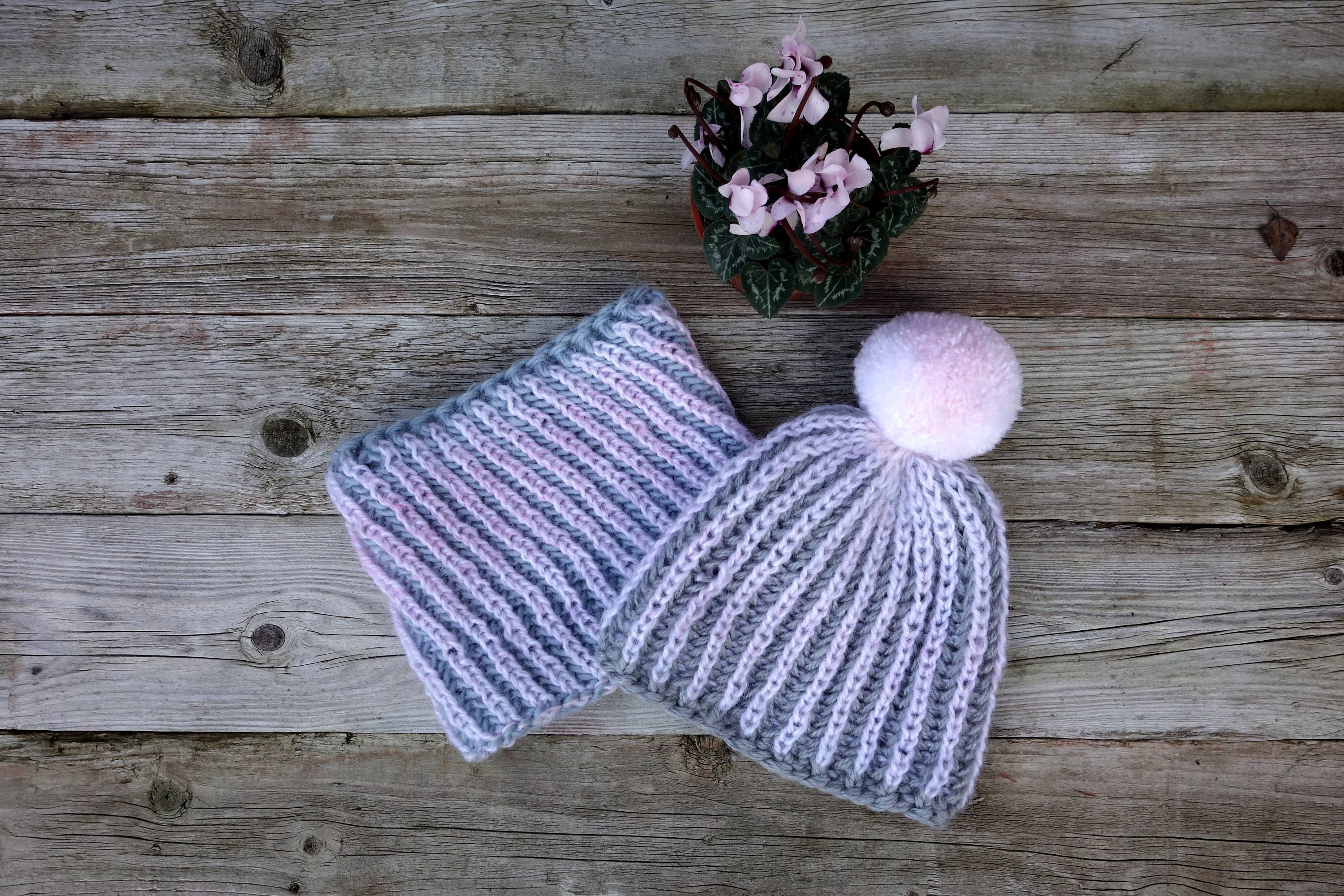 3046778e987 Hat and Cowl Knitting PATTERN Icicles Brioche Hat and Cowl