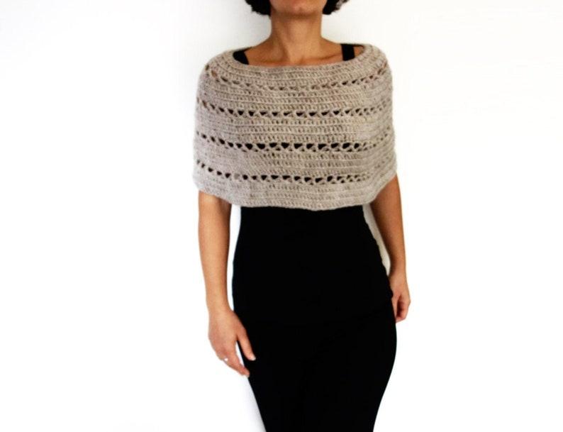 Caplet Crochet PATTERN Oatmeal Capelet/ Chunky Knit Shoulders image 0